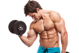Fototapety Muscular bodybuilder guy doing exercises with dumbbells over whi