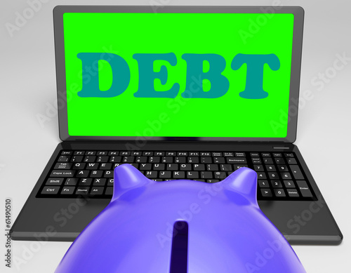 Debt Laptop Shows Money Due Or Owed
