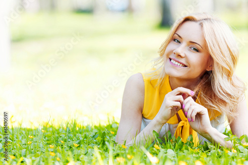 canvas print picture Woman on grass