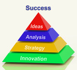 Success Pyramid Shows Progress Achievement Or Winning