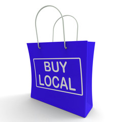Buy Local Shopping Bag Shows Buying Nearby Trade