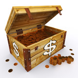 Dollar Chest Of Coins Shows American Prosperity And Economy