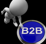 B2B Button Shows Business Partnership Or Deal
