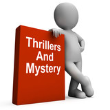 Thrillers And Mystery Book With Character Shows Genre Fiction Bo
