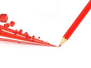 Красный карандаш рисует объемную дорожку из полосок и кубиков