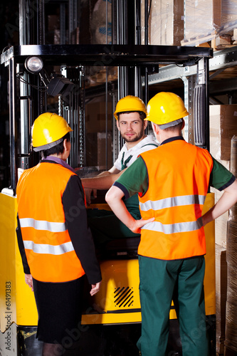 Forklift worker with management