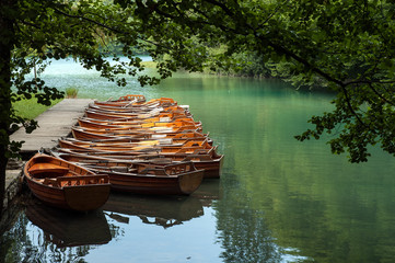 Boats at Plitvice Lakes National Park, Croatia