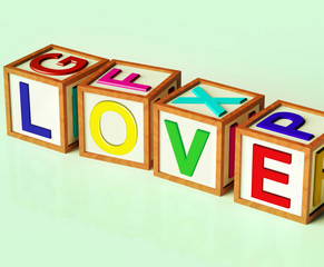 Love Blocks Show Romance Affection And Devotion
