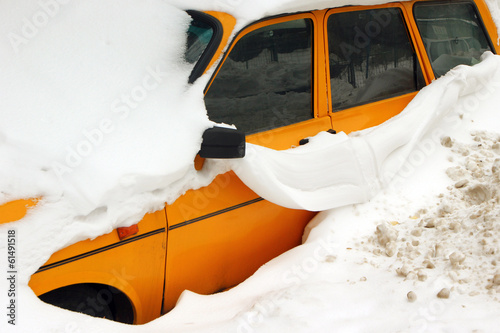 Car trapped under snow