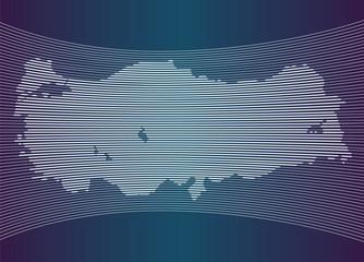 Beyaz çizgilerden oluşan Türkiye haritası