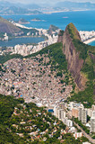 Rocinha Slum on the Mountain in Rio and city behind