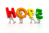 Team forming HOPE word