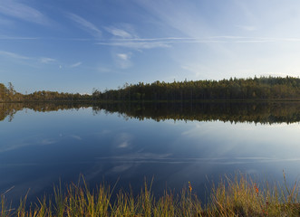 Tranquil scene of a small lake, Dalana, Sweden