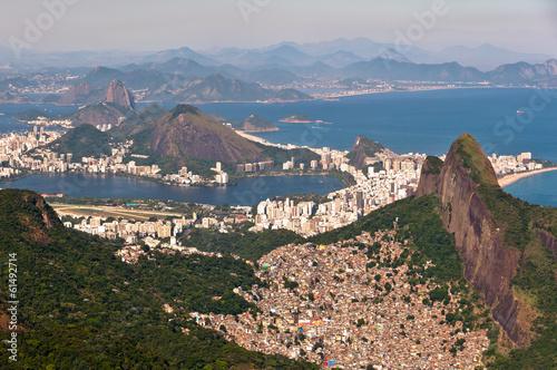 In de dag Rio de Janeiro Rio de Janeiro Aerial View with Ocean, Mountains, Urban Areas