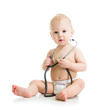 cute baby with stethoscope in hands - 61492925