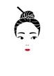 アップヘアの女性の顔