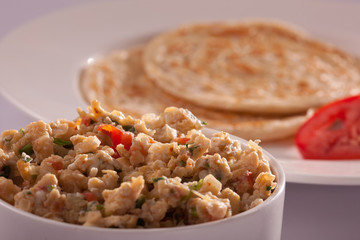 Egg bhurji with Paratha.