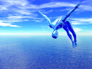 Alien diver leaps over a blue ocean