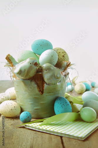 Speckled eggs  in bowl with vintage look