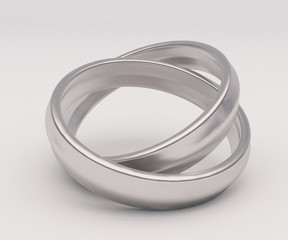 Silver wedding ring on white background