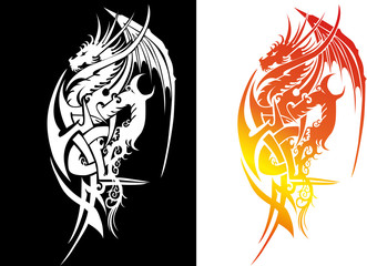 Black and white silhouette an japanese dragon fier