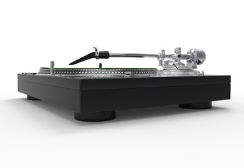 DJ Turntable Black Metallic Side View