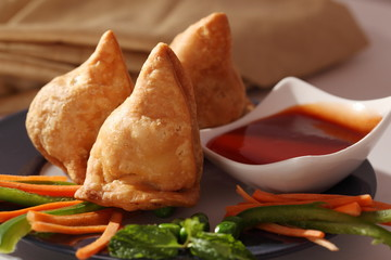 Samosa is an Indain fried or baked pastry with a savory filling