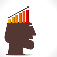 business growth graph in human head concept vector