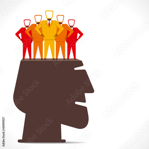 businessmen team in human head concept vector