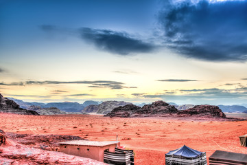 Scenic view of Jordanian desert in Wadi Rum, Jordan at twilight