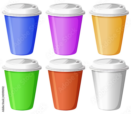 Six colorful disposable cups