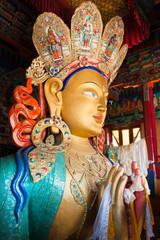 The statue of Maitreya Buddha at Thikse Monastery.