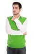 Attraktiver Mann mit Pullunder in Grün freigestellt auf Weiß