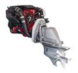 engine of motor boat over white - 61496961