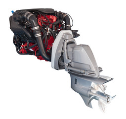 engine of motor boat over white