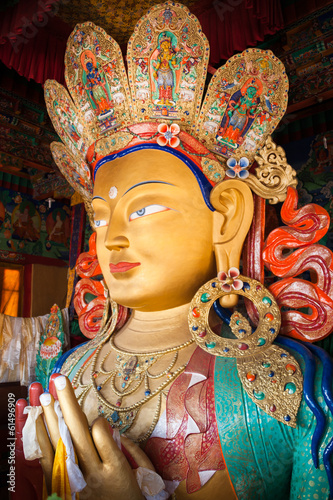 The statue of Maitreya Buddha at Thikse Monastery.