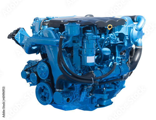 New blue engine. Isolated on white