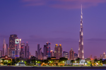 Downtown of Dubai (United Arab Emirates) in the sunset