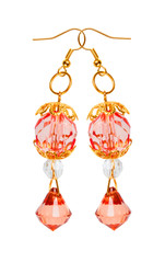 Earrings in red glass with gold elements. white background
