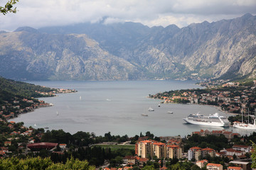 Ships and yachts in Kotor Bay, Montenegro