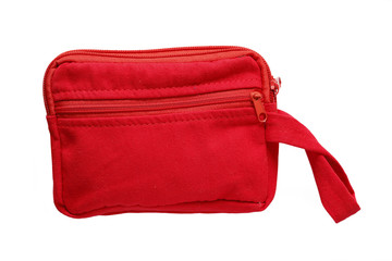 Red pocket bag isolated on white background