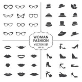 Woman Fashion Set vector - icons, glasses, hats, shoes, lips