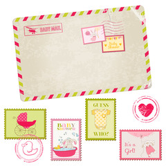Baby Shower or Arrival Postage Stamps - for design and scrapbook