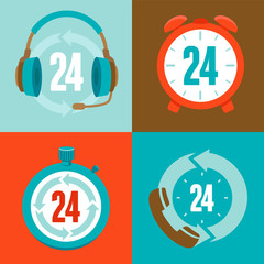 Twenty four hour support - flat vector icons