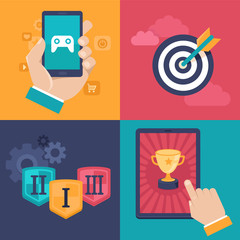 Vector gamification concepts - flat app icons