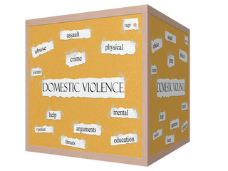 Domestic Violence 3D cube Corkboard Word Concept