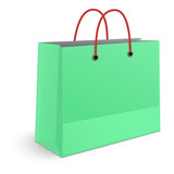 Classic shopping green paper bag with red grips isolated