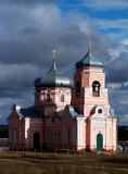 Christian orthodox village church in the overcast autumn day