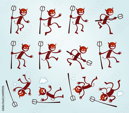 various pose of devil