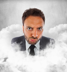 Young businessman in the clouds with expression of indecision